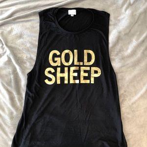 Goldsheep Gold/Black Muscle Tank, SZ:M